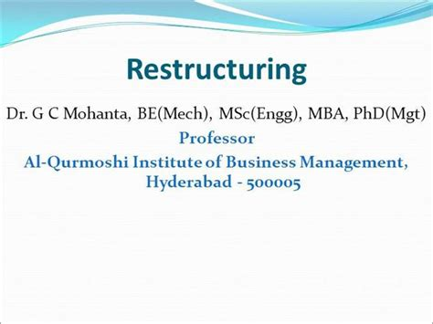 Restructuring Mba by Restructuring Organization For Organization Development