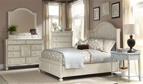 newport antique white panel bedroom set from american