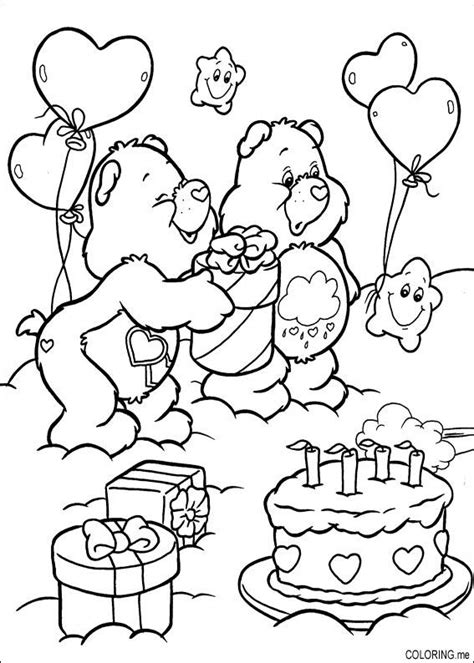 Coloring page : Care bears birthday cake   Coloring.me
