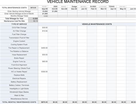 sheet vehicle repair log template log best business free vehicle