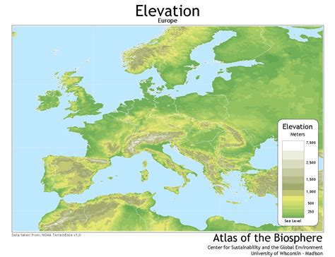 europe elevation map center for sustainability and the global environment