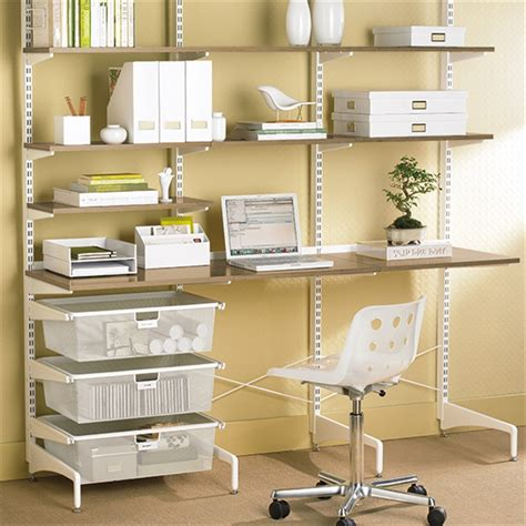 office desk shelving elfa storage and shelving for desks and home offices