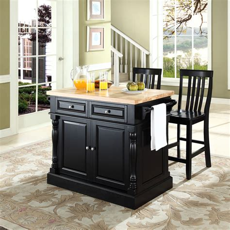 Small Modern Black Kitchen Island With Drawer And Bamboo