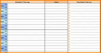 9 daily schedule with times printable cashier resumes