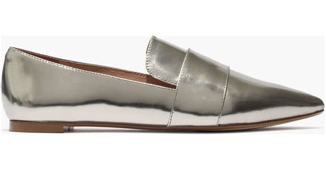 madewell loafers madewell the leandra loafer in metallic in silver