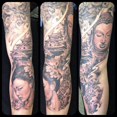 tattoo removal japan foo dog temple budhha geisha sleeve by monkeytoy
