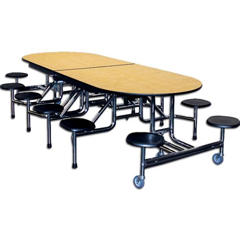 59t elongated mobile stool cafeteria table schoolsin