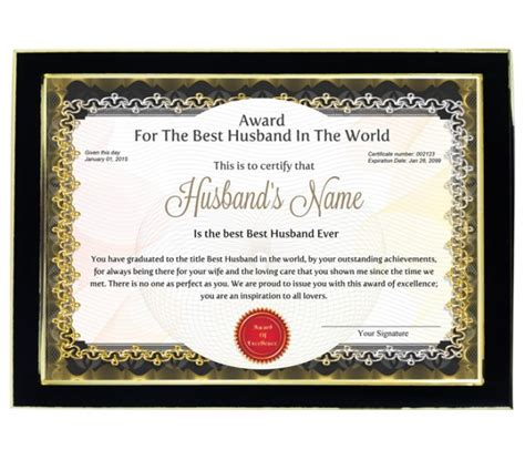 printable gift certificate for husband personalized award certificate for worlds best husband