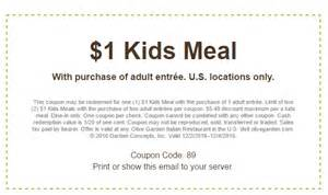 Garden Of In Store Coupons Olive Garden Eat For A Dollar