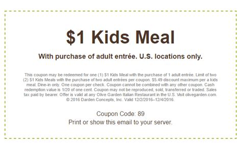 olive garden coupons to scan olive garden kids eat for a dollar