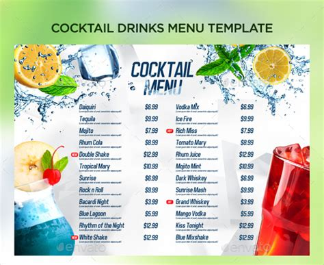 beverage menu template 21 cocktail menu templates free premium