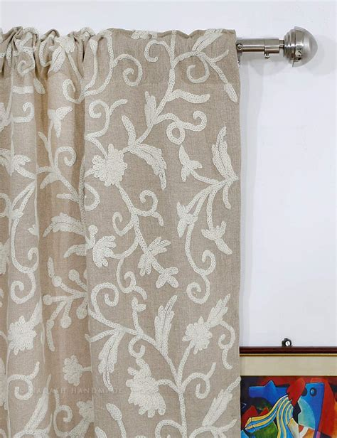 fabric curtain antimal crewel curtain panels and drapes hand embroidered