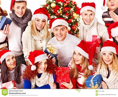 group people and christmas tree stock image image 27677695