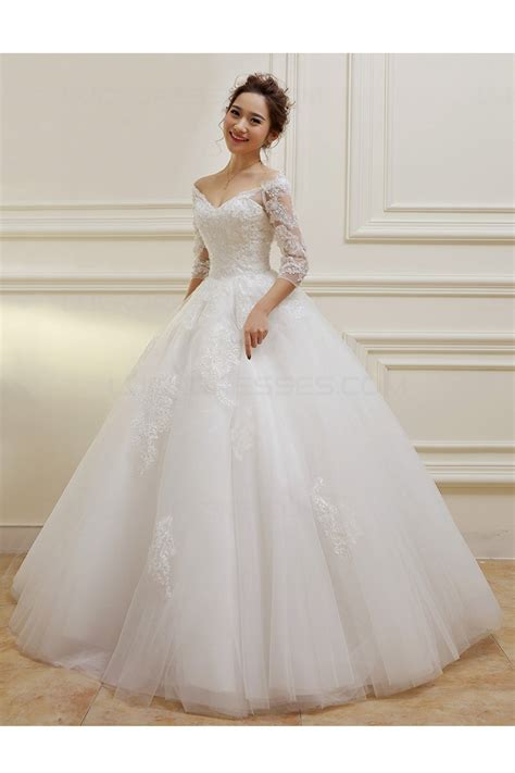 V Neck Wedding Dress by 3 4 Length Sleeves V Neck Lace Wedding Dresses Bridal