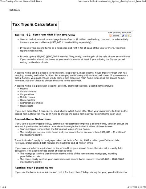 strengths to owning a second property tax owning a second home h r block