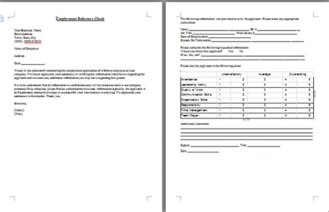 employee reference check template employment reference check by letter template