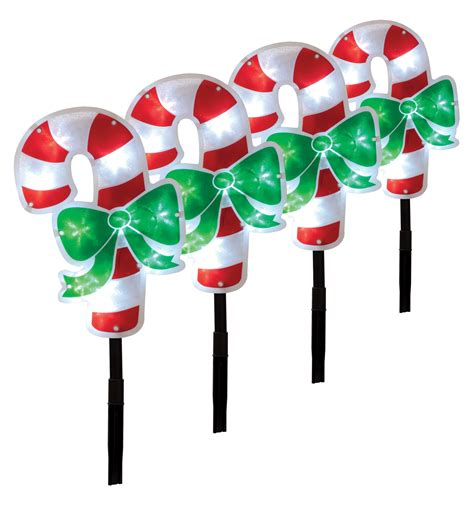 led candy cane path lights 4 x christmas light candy cane garden path lights pathway