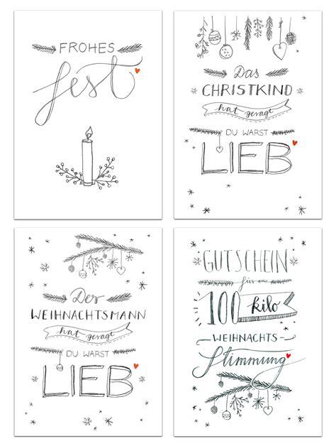 Postkarten Kalender Drucken by 12 Weihnachtskarten Mit 4 Motiven Im Handlettering Design