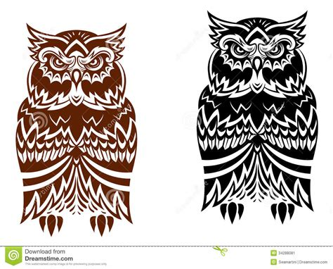 Tribal Pattern Owl Background | tribal owl with decorative ornament stock image image
