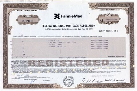 Fannie Mae Background Check Federal National Mortgage Association 15 875 Australlian Dollar Debenture 1990