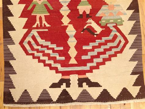 santa claus rug vintage turkish flat woven rug in small size w baba noel santa claus design for sale at 1stdibs