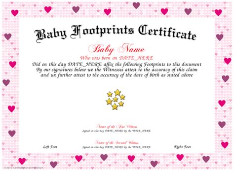 blank birth certificate with footprint www imgkid com