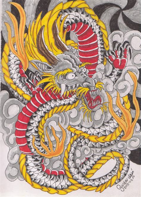 traditional japanese dragon tattoo japanese by nicoraven on deviantart