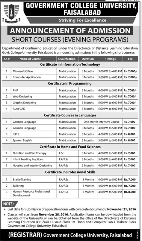 Gcu Mba Fee Structure by Gc Faisalabad Admission 2017 Form Last Date