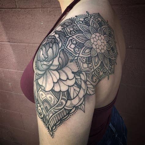 tattoo shoulder cap ideas ornamental floral mandala shoulder cap tattoo by laura