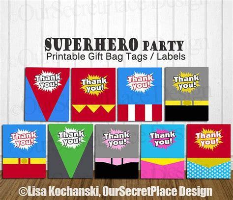 printable thank you tags for gift bags instant download printable superhero gift bag label