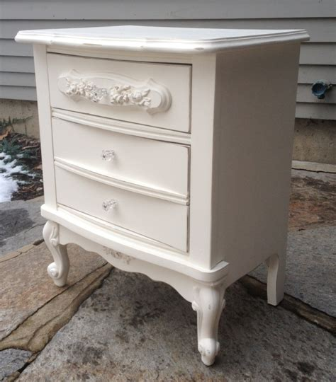 white shabby chic night stand with rose appliques