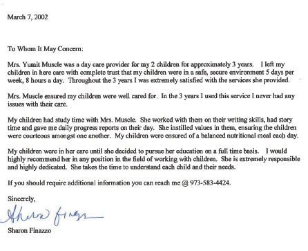 Sle Letter Of Recommendation For Day Care Provider Finazzo Recommendation Letter