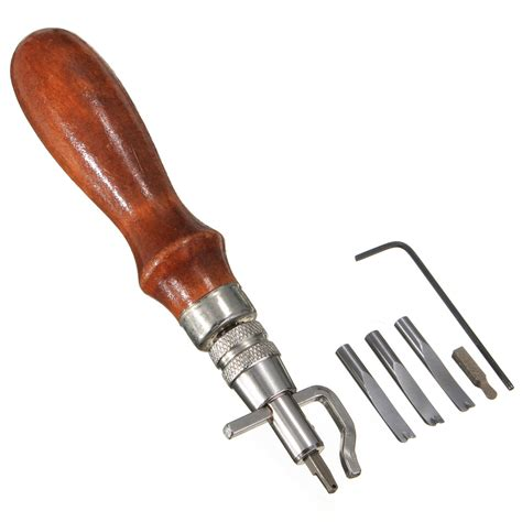 0738vc Set 5in1 Leather Embos 1 5in1 leather craft edge stitching groover creaser beveller sewing tool th130 ebay