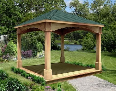 open gazebo cedar gable roof open rectangle pavilions pavilions