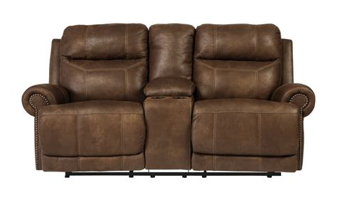 loveseat clearance austere double reclining loveseat w console in brown 3840094 clearance