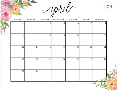 printable calendar 2018 doc free april 2018 calendar printable templates april 2018