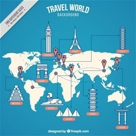 map of with landmarks world map countries vectors photos and psd files free