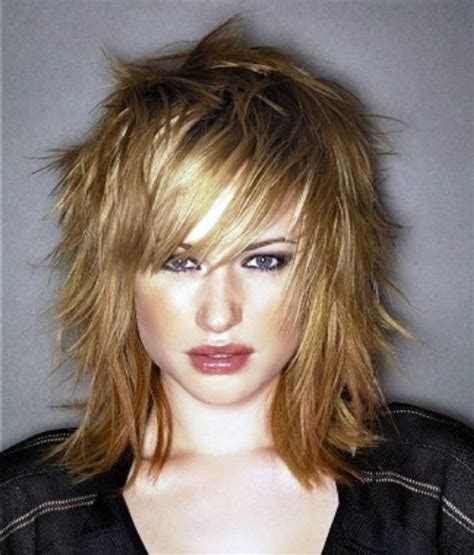 mid length choppy haircut pictures shaggy layered medium length hairstyles for women