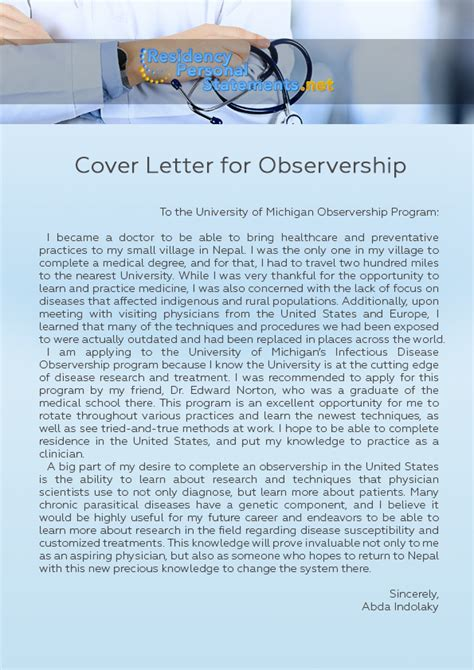 application letter clinical observership useful tips on writing a cover letter for observership