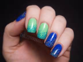 2 color nail designs floam and pinkerbell glitter gradients chalkboard nails