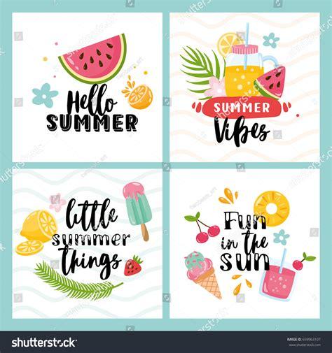 vector set  summer cards fruits stock vector