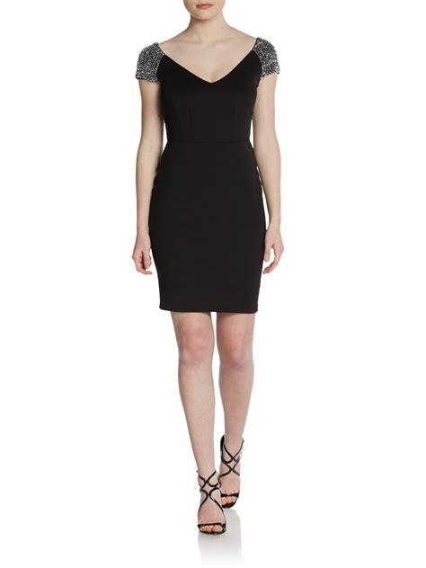 beaded black dress alexia admor beaded shoulder sheath dress in black lyst