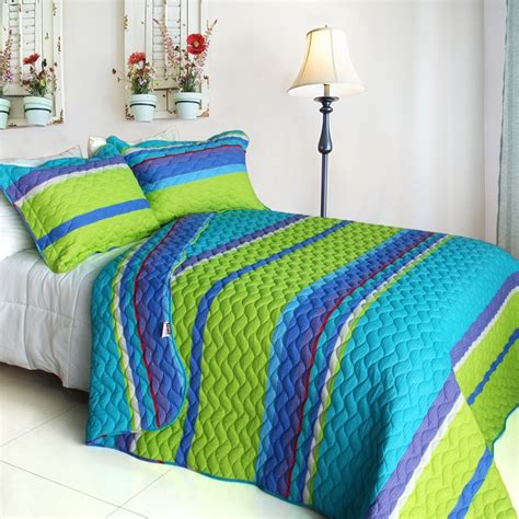 Set As Greeny total fab turquoise blue and lime green bedding sets