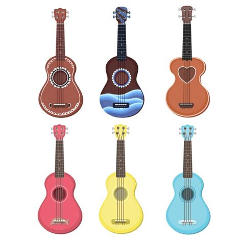 colorful ukulele colorful ukulele collection vector free
