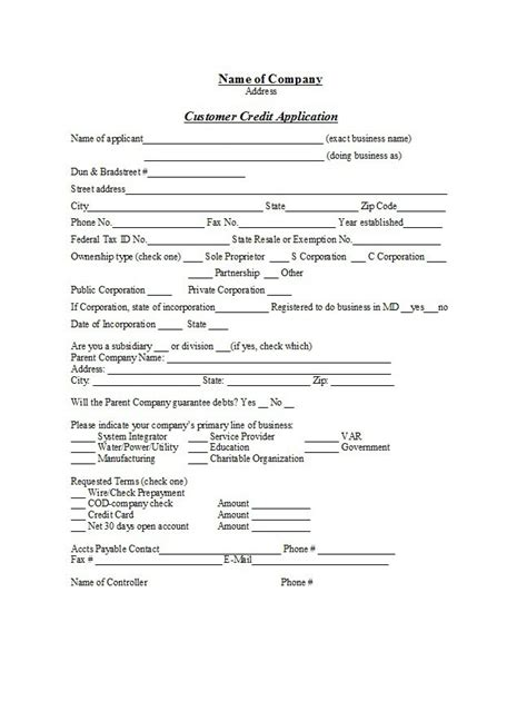 Credit Terms Agreement Template 40 Free Credit Application Form Templates Sles