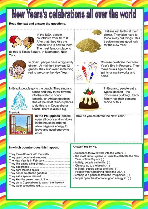 new year activities for elementary school new year s celebration worksheet free esl printable