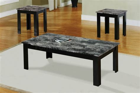 black faux marble top modern 3pc coffee table set w wood base
