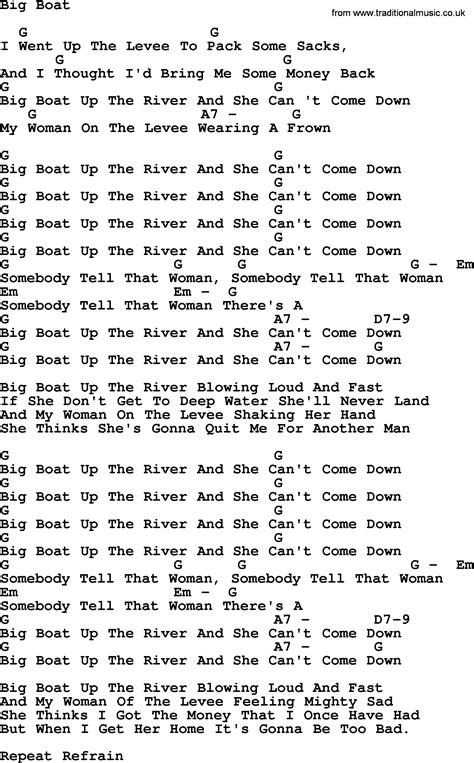 big boat song peter paul and mary song big boat lyrics and chords
