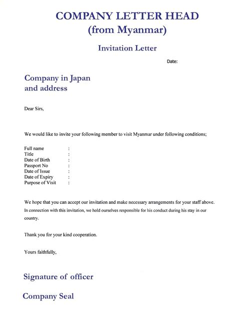 India Visa Letter Of Invitation Sle invitation letter for visa application letters free