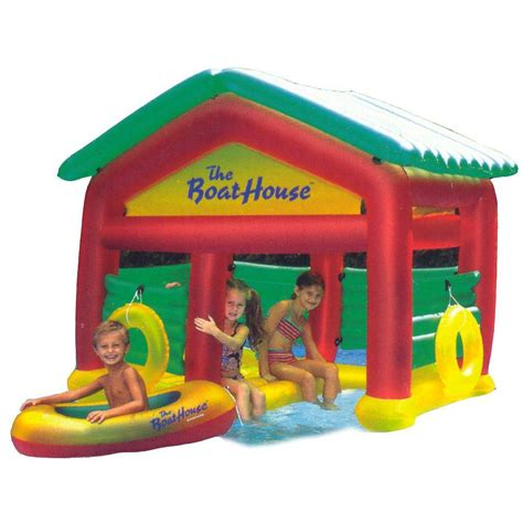 pool boat house swimline giant swan 75 in inflatable ride on pool toy